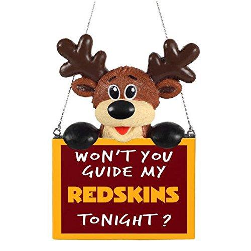 2015 NFL Football Team Logo Reindeer With Sign Holiday Tree Ornament - Pick Team (Washington Redskins)]()