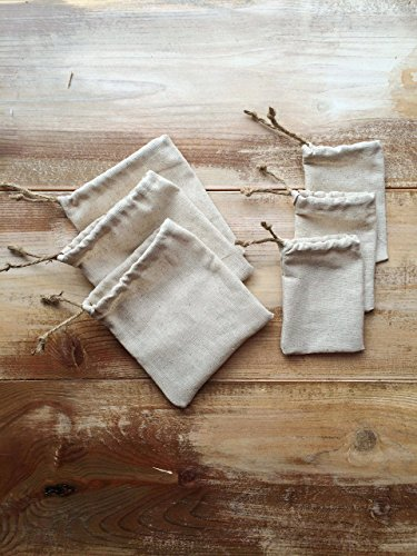 - Set of 12-Natural Cotton Favor Bags-Cinch With Jute Twine-Two Sizes Available