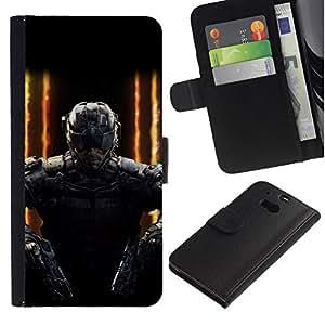 All Phone Most Case / Oferta Especial Cáscara Funda de cuero Monedero Cubierta de proteccion Caso / Wallet Case for HTC One M8 // Double gun SWAT