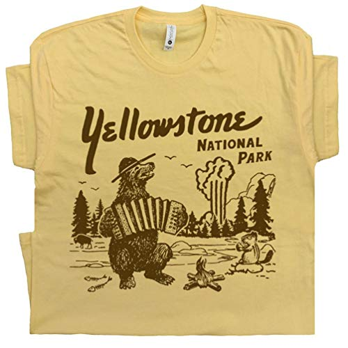 (XXXL - Yellowstone National Park T Shirt Wyoming Grand Tetons Tee Vintage Old Faithful Mens Womens Souvenir Graphic)