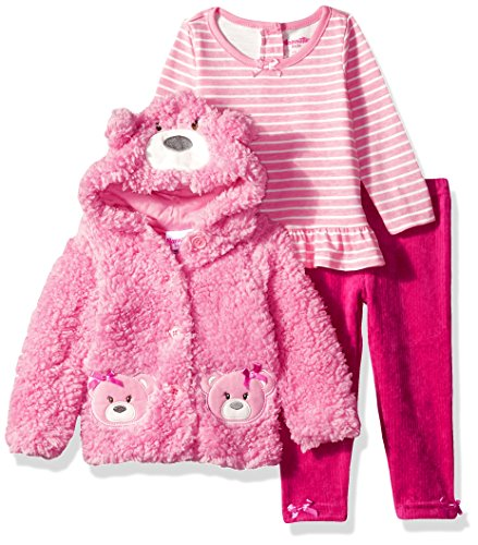 Nannette Baby Girls' 3 Piece Hooded Faux Fur Jacket Set With Tee and Pant, Pink Panda, (Nannette 3 Piece)