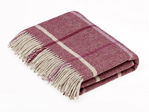 Bronte by Moon Shetland Quality - Pure New Wool - Windowpane - Berry - Throw Blanket
