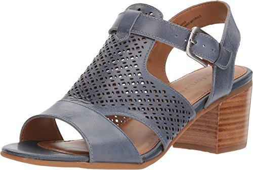 Comfortiva Women's Amber Chambray Leather Block Heel Sandal Shoes (8.5 M US)