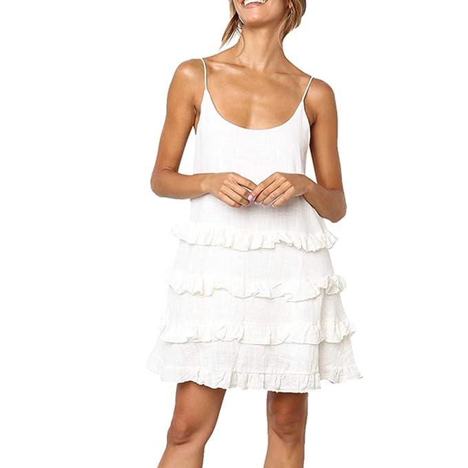 79f743d9198c COGIGI Womens Summer Elegant Casual Dress Soild Sleeveless Skirt ...