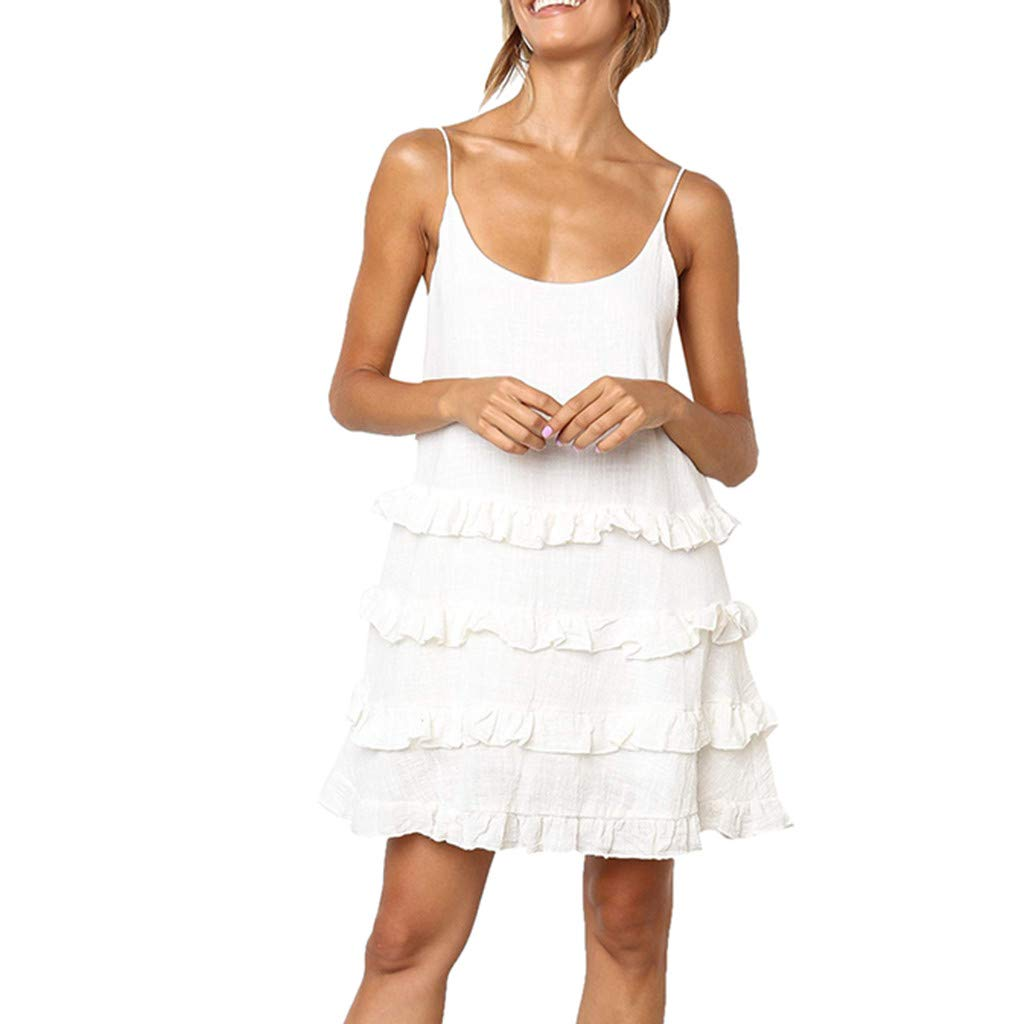 Women Solid Color Ruffled Dress,wodceeke Women's Summer Casual Natural Sleeveless Sling Midi Dresses(White,XL)