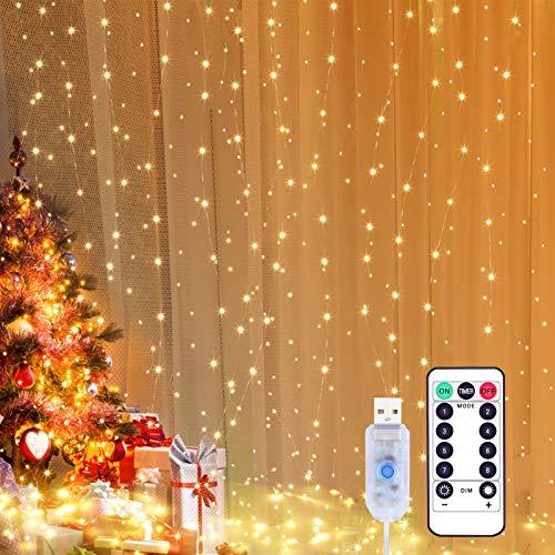 Yizhet 300LEDs lichtgordijn 3 x 3m USB lichtgordijn lichtketting LED lichtketting gordijn met 8 standen, IP65…