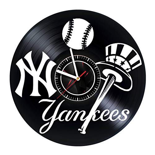 ArtoriDesign18 New-York Yankees - Wall Clock Made of Vinyl Record - Handmade Original Design - Great Gifts idea for Birthday, Wedding, Anniversary, Women, Men, Friends, Girlfriend Boyfriend and Teens