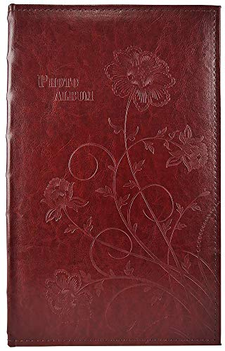 Art Leather Albums - Golden State Art, Wedding Family Baby Dog Photo Album Christmas, Vacation, Anniversary Photography Book for 300 4x6 Pictures Pockets with Memo, 3 Per Page Large Capacity Maroon Faux Leather Vintage