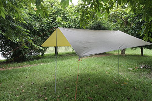 Eleoption Portable Lightweight Waterproof Survival Tarp Shelter Suitble for 3 to 4 Person 9.5 by 9.5 Foot with 6 Rings AsOutdoor Rain Tarp Tent Tarp Shelter Sun Shade (Green Tent)