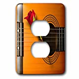Spiritual Awakenings Music - Cool guitar art with beautiful long stemmed rose - Light Switch Covers - 2 plug outlet cover (lsp_110972_6)