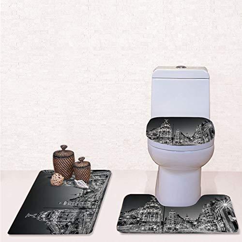 Comfort Flannel 3 Pcs Bath Rug Set,Contour Mat Toilet Seat Cover,Madrid City Night Spain Main Street Ancient Architecture Decorative with Grey,Decorate Bathroom,Entrance Door,Kitchen,Bedroom ()