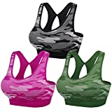 MIRITY Women Racerback Sports Bras - High Impact Workout Gym Activewear Bra Color Black Army Red Size S