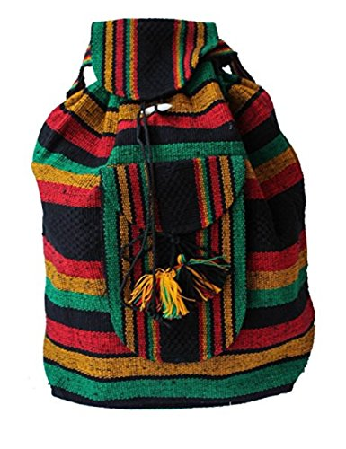 Rasta Hemp - Freedom Backpack Beach Bag Plus Free Bracelet (Rasta)