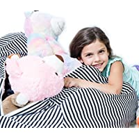 EXTRA LARGE - Stuffed Animal Bean Bag Storage - Childrens Plush Toy Organizer Creative Solution for Kids (Black)