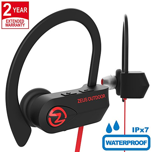 ZEUS Bluetooth Headphones Wireless - Mens Womens Running Headphones - Best Sports Wireless Earbuds Earphones - IPx7 Wireless in-Ear Headphones - Sport Bluetooth Headphones (up to 10 h) (Red)