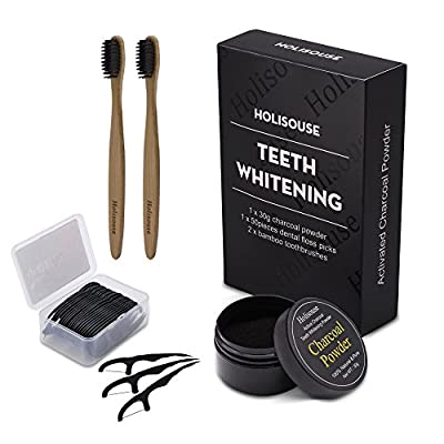 Activated Charcoal Teeth Whitening Powder Natural Organic Tooth Whitener Stain Remover for Bad Breath, Coffee Tea Stains, Oral Germs with 2 Bamboo Toothbrushes and 50 Dental Floss Picks …