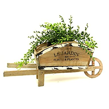 ukgiftstoreonline Vintage Style Wooden Wheelbarrow Planter French Country