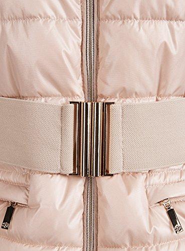 oodji Ultra Mujer Chaqueta con Cuello Mao y Cinturón Elástico Beige (3300N)