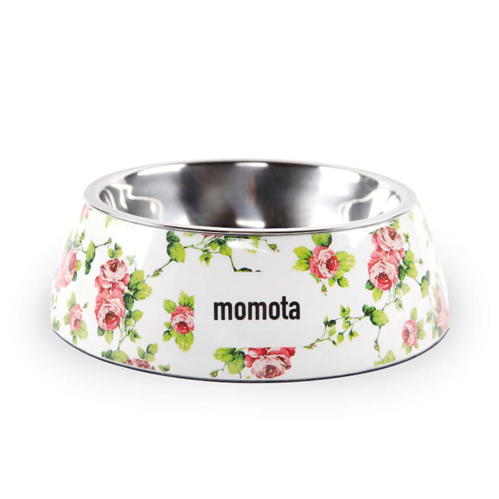 CXQ Dog Bowl Pet Bowl Dog Food Bowl Stainless Steel Non-Slip Double Layer Single Bowl Cat Bowl White Flowers Pet Supplies
