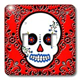 3dRose LLC lsp_28866_2 Day Of The Dead Skull Día De Los Muertos Sugar Skull Red Black Scroll Design, Double Toggle Switch