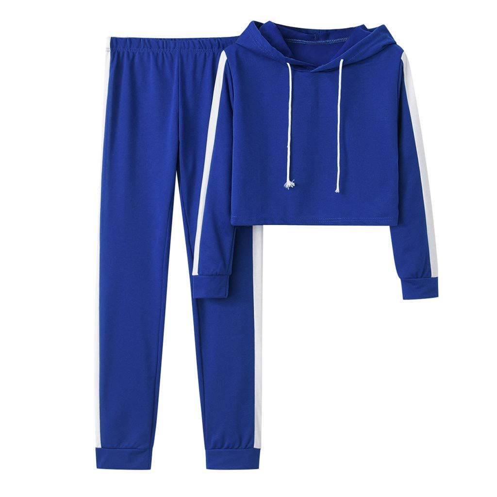 Womens Cropped Hoodie Sweatshirt Striped Long Sleeve Tracksuit Sweatpants Set 2 Piece Outfit Blue by SNOWSONG