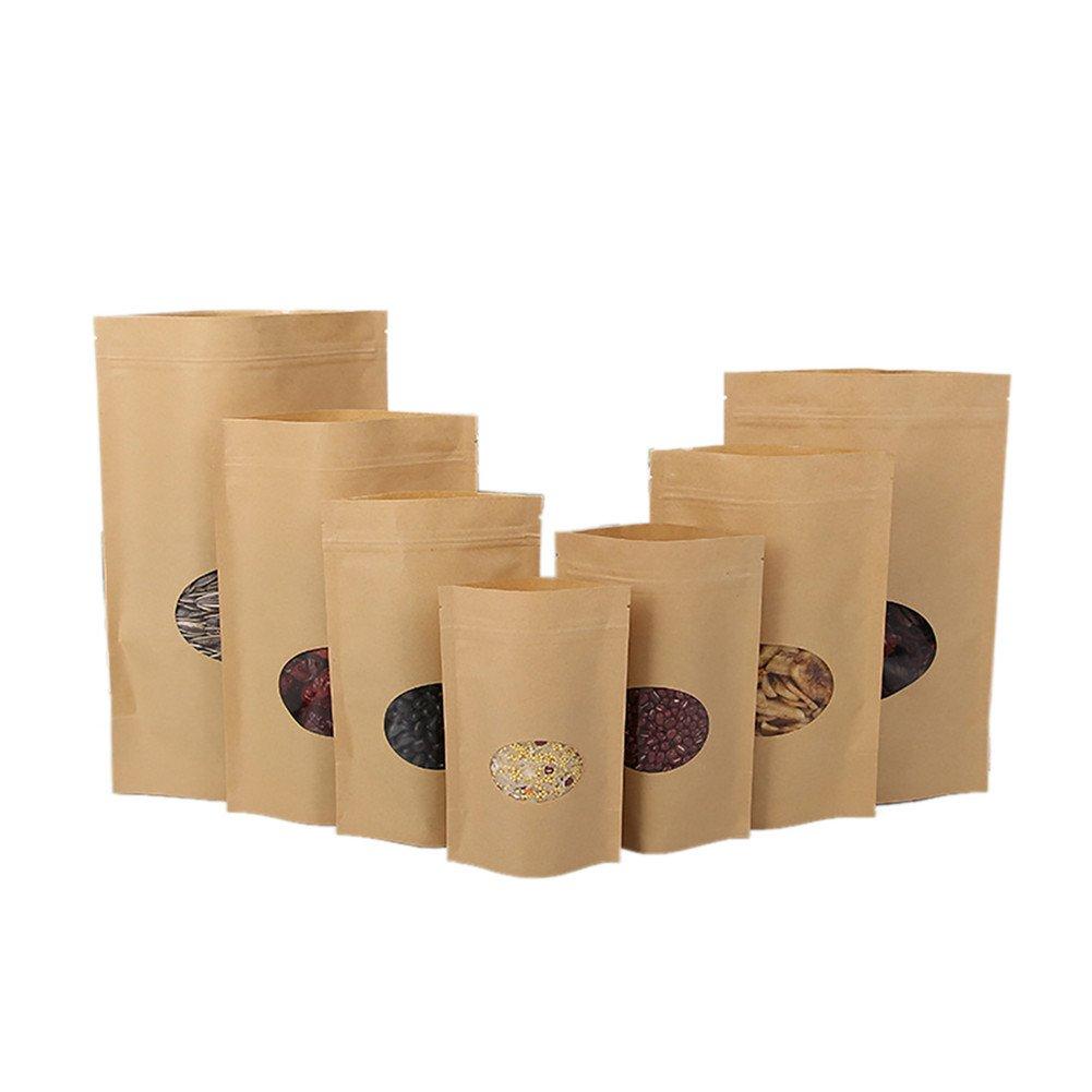 (価格/ 50 PCS)アスパイアクラフト紙袋ジッパーロックスタンドアップ再利用可能なシーリングポーチ付き透明ウィンドウとティアノッチ、FDA準拠 - ブラウン - 6 x 8.5 x 7.62cm/0.17kg B07L3BQ4R8