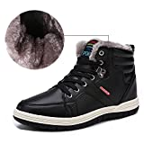 Aliwendy Mens Winter Snow Boots Fur Lined Waterproof Warm Sneaker Non-Slip High Top Outdoor Shoes (Black 11D(M) US)