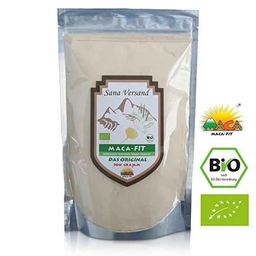 100% BIO Maca Pulver 500g. Original aus Peru. Reines Maca Pulver enthält Vitamine, Aminosäuren und Proteine. Ohne Zusatzstoffe dadurch vegan, organic, glutenfrei, also auch für Allergiker geeignet. Superfood aus Peru.