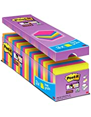 Post-it Super Sticky Lot de 24 Blocs de Notes repositionnables 76 x 76 mm Néon