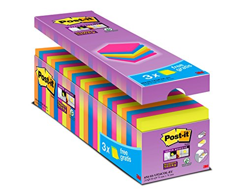 Pad Value Pack - Post it Notes Super Sticky Notes Value Pack, 76 x 76 mm - Assorted Colours, Pack of 24 (90 Sheets Per Pad)