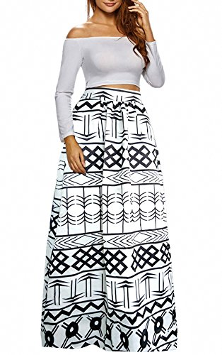 Afibi Women African Printed Casual Maxi Skirt Flared Skirt Multisize A Line Skirt (X-Large, Pattern 8) by Afibi