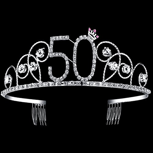(BABEYOND Crystal Tiara Birthday Crown Princess Crown Hair Accessories Silver Diamante Happy 50th Birthday (50)