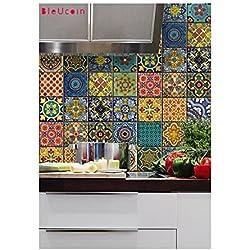 Talavera tradicional mexicana Cocina y cuarto de baño Backsplash Tile y pegatinas de la pared Etiquetas de la escalera de la etiqueta del azulejo del piso (decoración casera de la cáscara y del palillo) 22 DISEÑOS (paquete de 44)