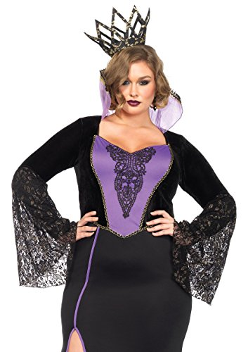 Leg Avenue Women's Plus-Size 2 Piece Evil Queen Costume, Black/Purple, 3X - Plus Size White Queen Halloween Costume
