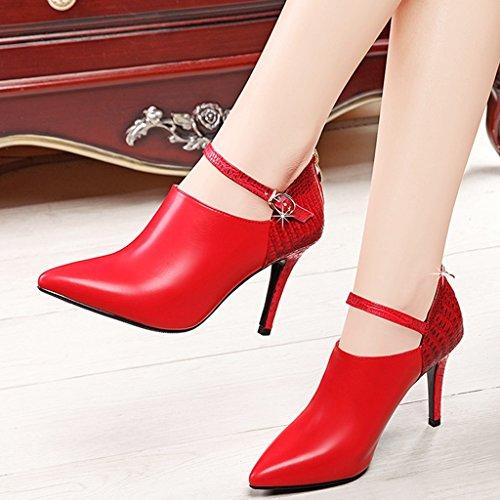de de Color Rojo roja Tacón HWF Primavera Solo para Boda de Aguja Acentuados 36 mujer Zapatos Zapatos Tamaño Trabajo Zapatos Rojo de n1qTWY6a