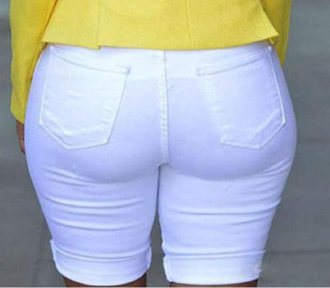 Spirio Women Ripped Holes High Waist Casual Regular Fit Denim Shorts Jeans