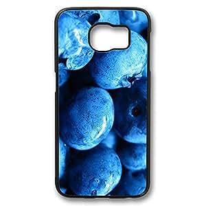 Brian114 Samsung Galaxy S6 Case, S6 Case - Perfect Fit Black Hard Back Case Cover for Samsung Galaxy S6 Blueberries Close Up Edge Case Impact Protection for Samsung Galaxy S6