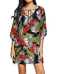 Women's Bohemian Neck Vintage Printed Beach Summer Dress