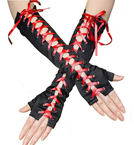 Adramata Steampunk Clothing Gloves Women Full Length Fingerless Lace Up Arm Warmers Satin Halloween Gloves Adjustable ()