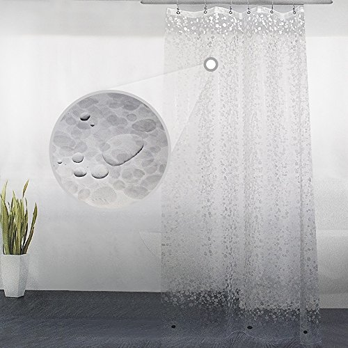 Eforgift 3D Cobblestone 100% EVA Stall Shower Curtain Water Repellent and Mildew Resistant with 2 Weighted Magnets, Nontoxic Semi-Transparent Shower Curtain Liner Standalone, 36 x 72 inches