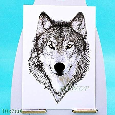 ljmljm 6pcs Tatuaje Impermeable Lobos Fox Buck Lobo Ballena León ...
