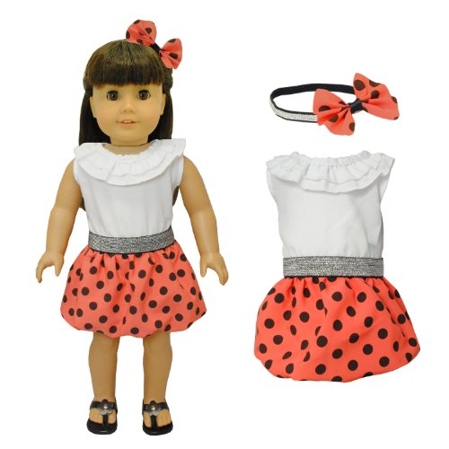 Doll Clothes – Red Polka Dots Dress with Head Band Set Fits American Girl Doll, My Life Doll, Our Generation and other 18 inch Dolls