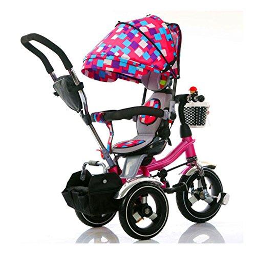 Triciclo Plegable para niños 4 en 1 para 6 Meses a 6 años Trolleys para Asiento de niño y niña Pueden Girar con toldo