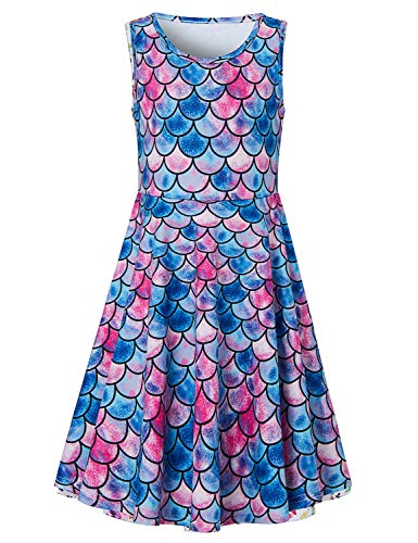 Goodstoworld Summer Dresses for Girls Blue Mermaid Dress Pretty Popular Fish Scale Sleeveless Twirl Dress Frocks Skater Swing Dress Skirts Birthday Party Gift 10-13 Years