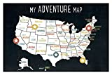 USA Adventure Wall Map Art Print, 18x12 Inches, Black, Kid's USA Wall Map,children's Room Decor, Gender Neutral Nursery, Travel Nursery Decor,united States of America Map