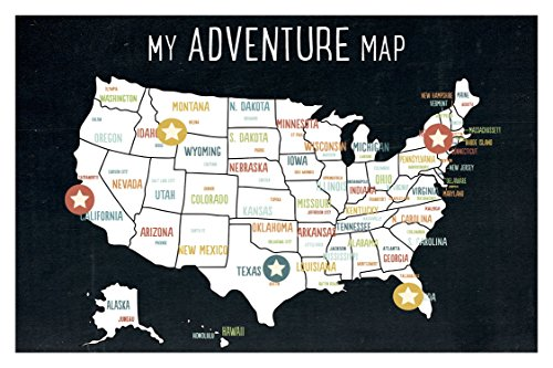 USA Adventure Wall Map Art Print, 18x12 Inches, Black, Kid's USA Wall Map,children's Room Decor, Gender Neutral Nursery, Travel Nursery Decor,united States of America Map by Children Inspire Design