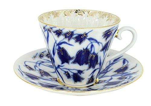Lomonosov Porcelain Set Blue Bells 2 pc Cup and Saucer 7.95 oz/235 ml