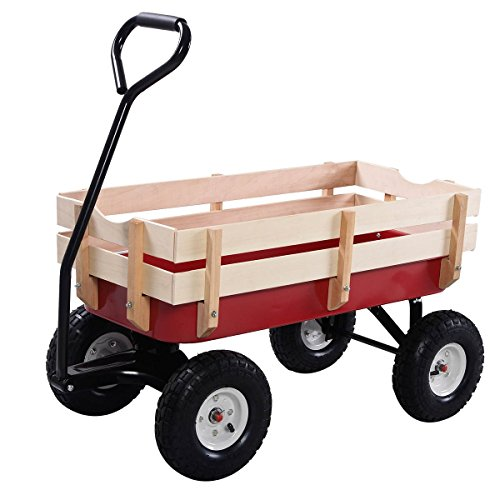 Price comparison product image Outdoor Wagon ALL Terrain Pulling Children Kid Garden Cart w / Wood Railing Red
