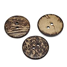 HOUSWEETY 20 Brown Coconut Shell Sewing Buttons 38mm