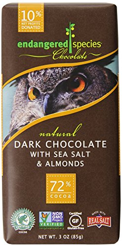 Endangered Species Chocolate Bar, Dark Chocolate with Sea Salt & Almonds, 3 Ounce (Pack of 12) Dark Chocolate Flake